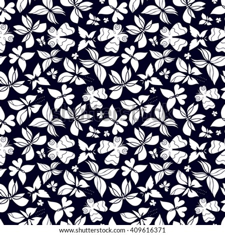 Butterfly seamless pattern, butterfly black and white background, EPS 8