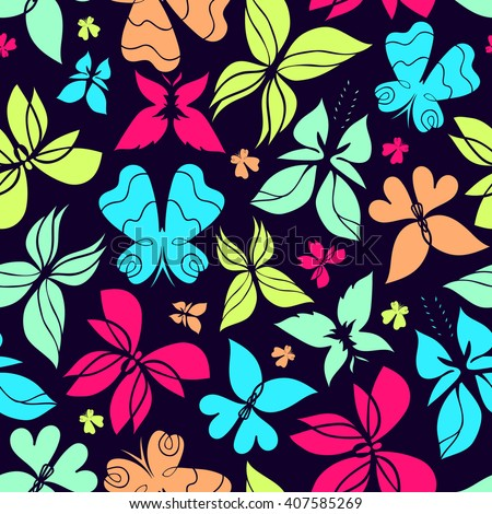 Butterfly seamless pattern, colorful butterfly background, butterflies vector, butterfly silhouette, can be used for design fabric, wrapping paper, package and etc., EPS 8 - stock vector