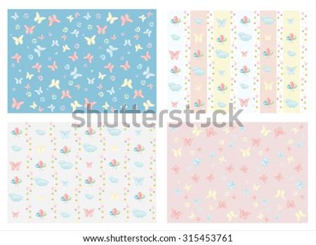 Butterfly seamless pattern. Wallpaper - stock vector