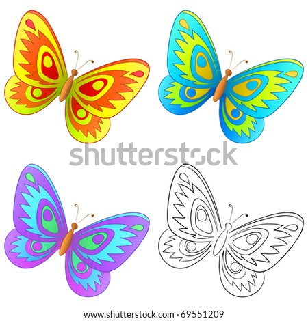 Butterfly, set: multi-coloured and graphic monochrome contour - stock vector