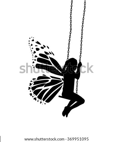 Butterfly silhouette girl riding on a swing. Vector - stock vector