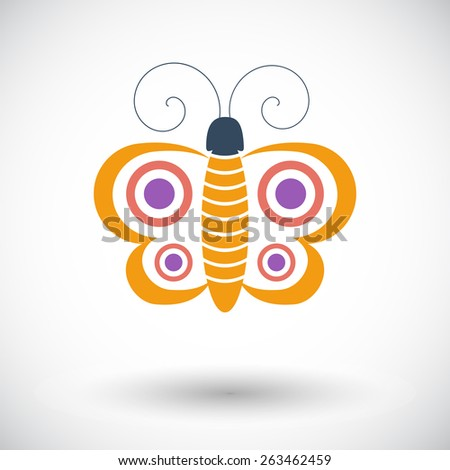 Butterfly. Single flat icon on white background. Vector illustration. - stock vector