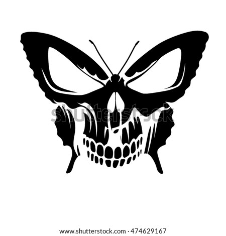 butterfly skull tattoo stock vector 474629167 shutterstock rh shutterstock com butterfly skull tattoo old school butterfly skull tattoo pinterest