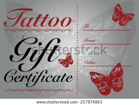 Butterfly skull tattoo gift card gift stock vector 257876861 butterfly skull tattoo gift card and gift certificate template yadclub Image collections