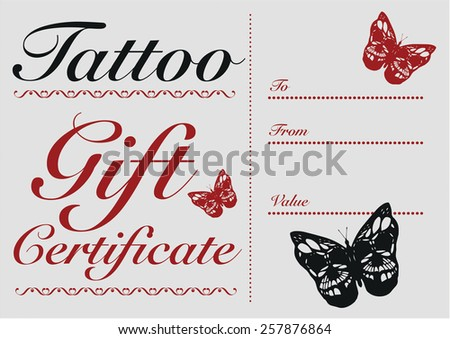Butterfly Skull Tattoo Gift Card And Certificate Template