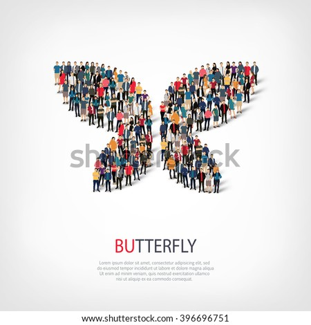 butterfly symbol people crowd - stock vector