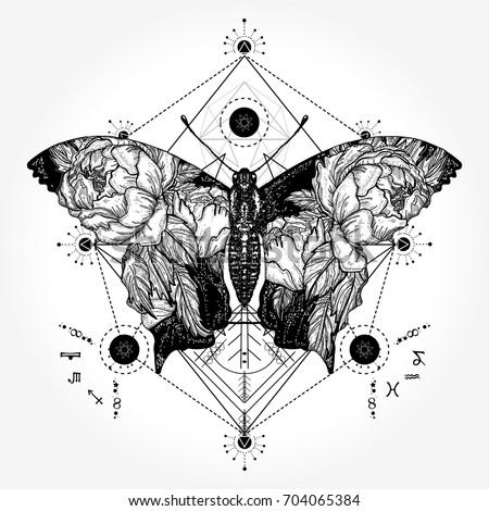 Butterfly Tattoo Geometrical Style Double Exposure Stock Vector