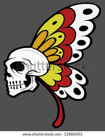butterfly tattoo vector - stock vector