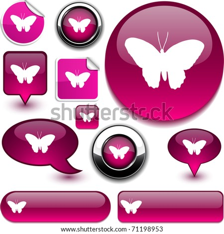 Butterfly vector glossy icons. - stock vector
