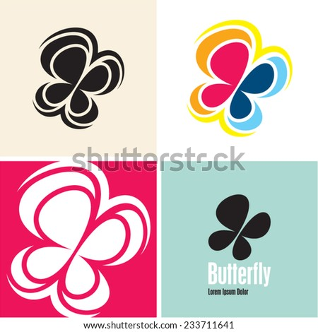 butterfly vector icons - stock vector