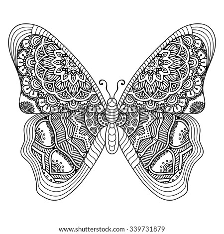 Butterfly. Vintage decorative elements with mandalas. Oriental pattern, vector illustration.  Islam, Arabic, Indian, turkish, pakistan, chinese, ottoman motifs - stock vector