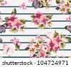 butterfly with floral seamless pattern on stripe background - stock vector