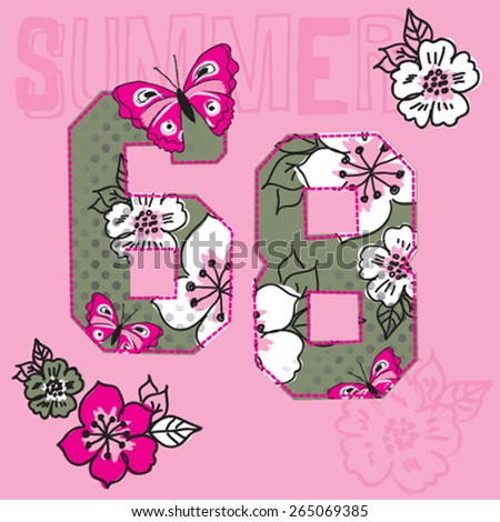 butterfly with flowers, T-shirt design with number 68 vector illustration - stock vector