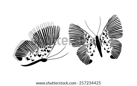 Butterfly with hearts black silhouette. Vector - stock vector