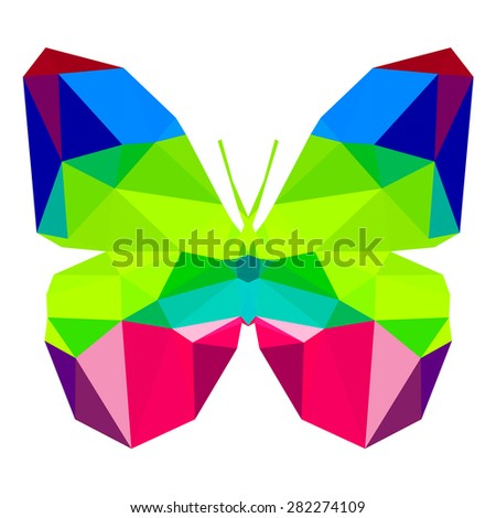 Butterfly with many triangles - stock vector
