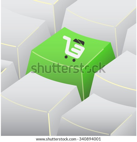 Button appears on the keyboard icon. - stock vector
