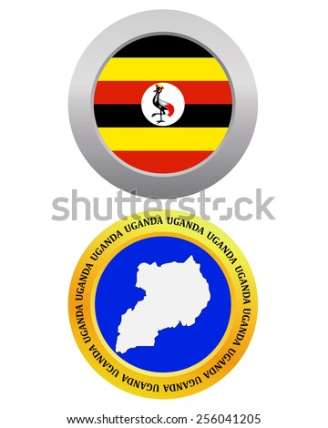 button as a symbol UGANDA flag and map on a white background  - stock vector