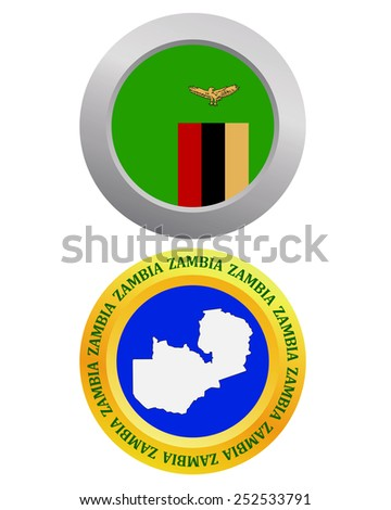 button as a symbol ZAMBIA flag and map on a white background