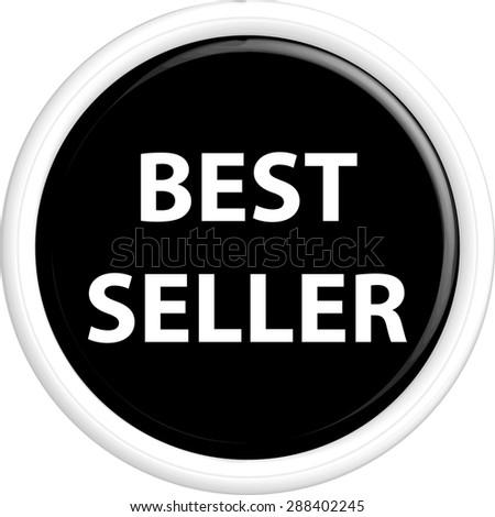 Button best seller . The round shape. 3D. Vector illustration. - stock vector