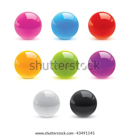 Button Element - Glossy Circle Vectors - stock vector