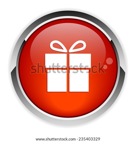 Button gift box on white background icon red - stock vector