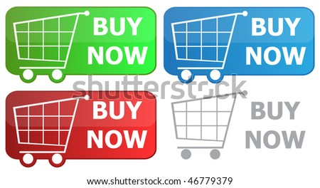 Button grocery cart with the signature buy now - stock vector