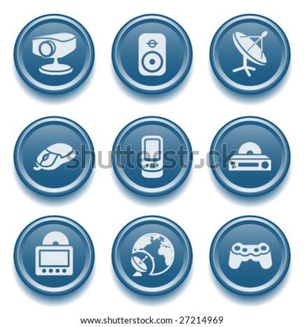 Button icon set 21 - stock vector