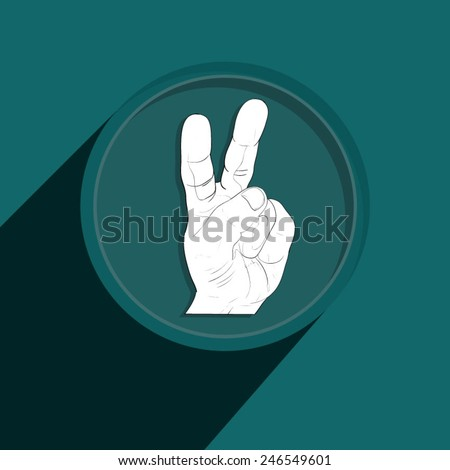 Button-Icon: two fingers hand - black and white. Vector Illustration. Eps 10 - stock vector