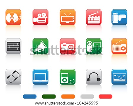 button media tools icon set - stock vector