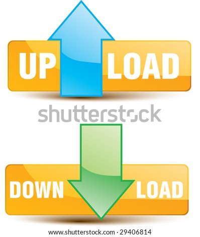 Button upload, download - stock vector