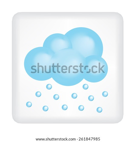 Button with blue cloud and hail vector