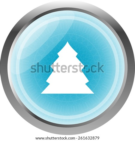 button with christmas tree on it, icon isolated on white - stock vector