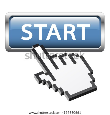 "Button with 3D pixel graphic hand "" Start """