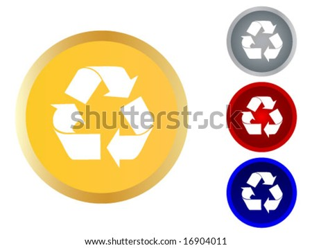 button with ecology symbol - stock vector