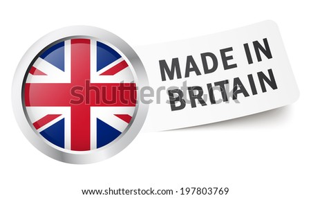 """Button with flag """" MADE IN BRITAIN """" - stock vector"""