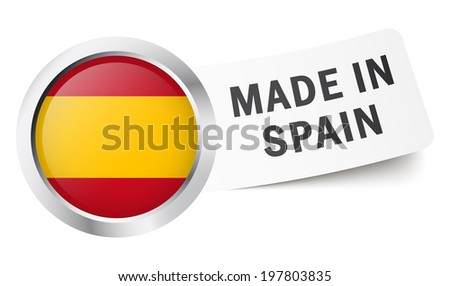 """Button with flag """" MADE IN SPAIN """" - stock vector"""