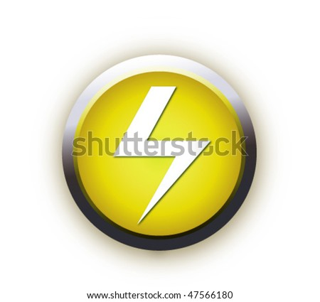 button with high voltage symbol - stock vector