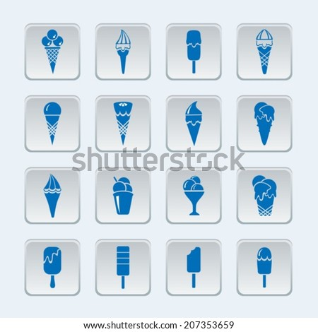 Button with ice cream. Vector icons.  EPS-10 (non transparent elements)   - stock vector