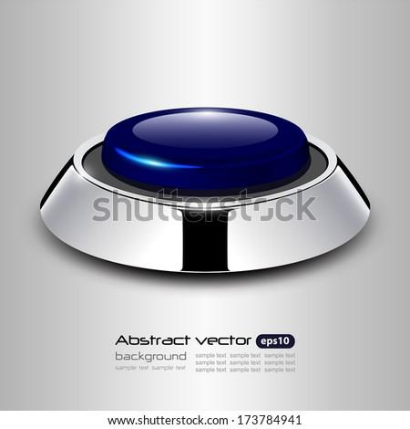 Button with metallic, chrome elements, vector design. - stock vector