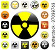 Button with nuclear warning symbol. - stock vector