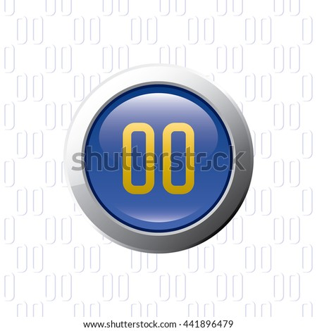 Button with Pause Symbol - Glossy Blue Grey and Orange Elements on Pause Symbol Wallpaper Background - Bevel 3D Realistic Style - stock vector