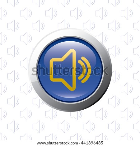 Button with PC Speaker Symbol - Glossy Blue Grey and Orange Elements on PC Speaker Symbol Wallpaper Background - Bevel 3D Realistic Style - stock vector