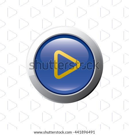 Button with Play Symbol - Glossy Blue Grey and Orange Elements on Play Symbol Wallpaper Background - Bevel 3D Realistic Style - stock vector