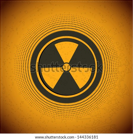 Button with radiation symbol - stock vector