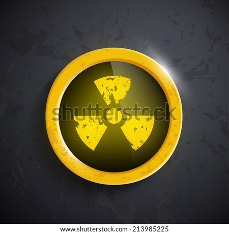 button with the sign of the radioactivity - stock vector