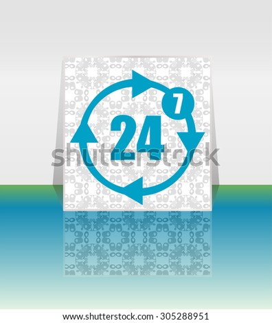 button with twenty four hours by seven days  icon. Vector illustration - stock vector
