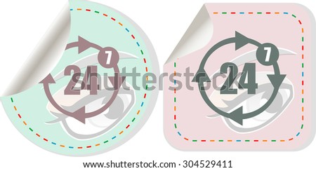 button with twenty four hours by seven days  icon, vector illustration. isolated on white. Vector illustration - stock vector