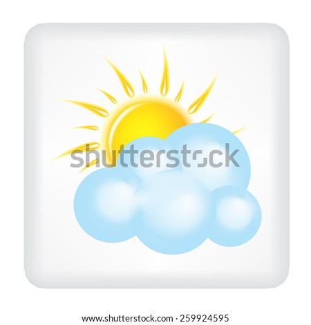 Button with yellow sun and cloud vector