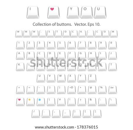 Buttons alphabet - stock vector