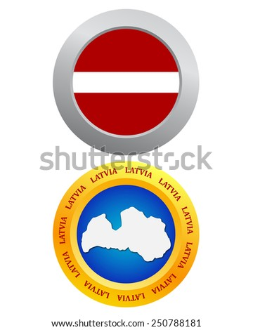 buttons as a symbol of Latvia flag and map - stock vector